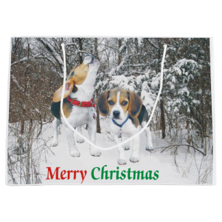 Merry Christmas Beagle Pups Snowy Gift Bag