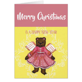 Merry Christmas Bear Angel Card