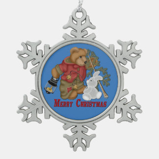Merry Christmas Bear & Bunny Snowflake Ornament