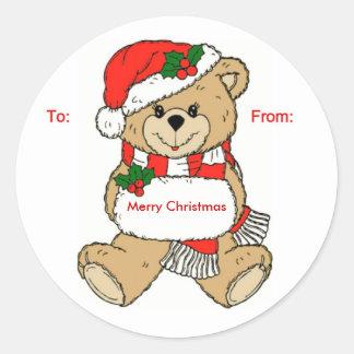 Merry Christmas Bear Round Sticker