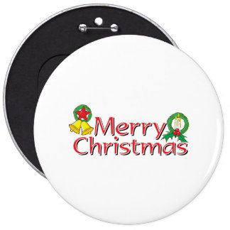 Merry Christmas Bell Lantern Wreath Candle Buttons