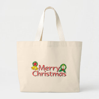 Merry Christmas Bell Lantern Wreath Candle Buttons Tote Bag