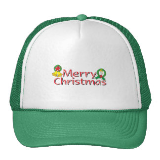 Merry Christmas Bell Lantern Wreath Candle Buttons Hats