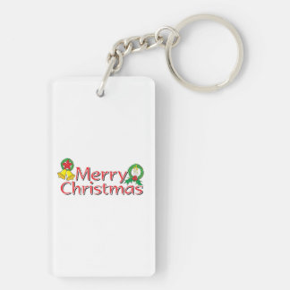 Merry Christmas Bell Lantern Wreath Candle Buttons Acrylic Keychain
