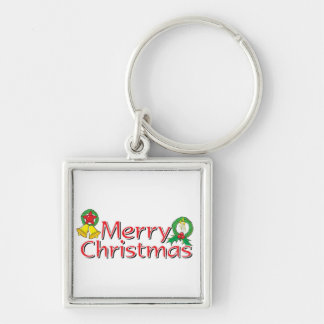 Merry Christmas Bell Lantern Wreath Candle Buttons Keychains
