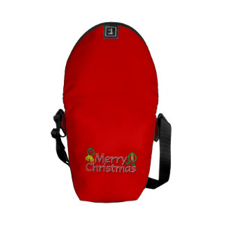 Merry Christmas Bell Lantern Wreath Candle Buttons Courier Bag