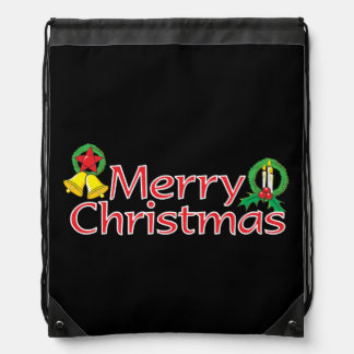 Merry Christmas Bell Lantern Wreath Candle Buttons Cinch Bag