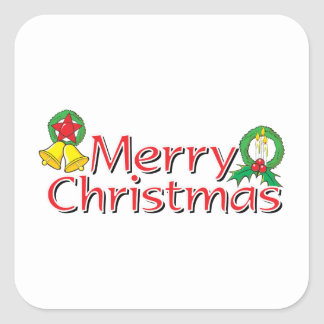 Merry Christmas Bell Lantern Wreath Candle Buttons Sticker