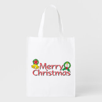 Merry Christmas Bell Lantern Wreath Candle Buttons Grocery Bags