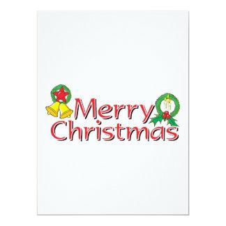 Merry Christmas Bell Lantern Wreath Candle Mistlet 17 Cm X 22 Cm Invitation Card