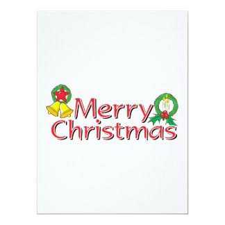 Merry Christmas Bell Lantern Wreath Candle Mistlet Invites