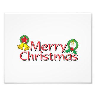 Merry Christmas Bell Lantern Wreath Candle Mistlet Art Photo
