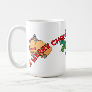 Merry Christmas Bells and Holly Classic White Coffee Mug