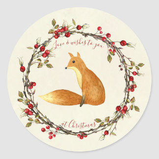 Merry christmas berries wreath fox sticker label
