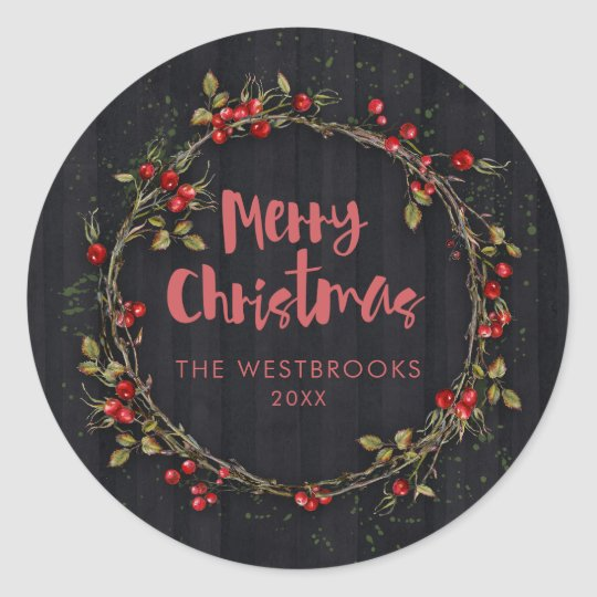 Merry Christmas Berry Wreath Classic Round Sticker