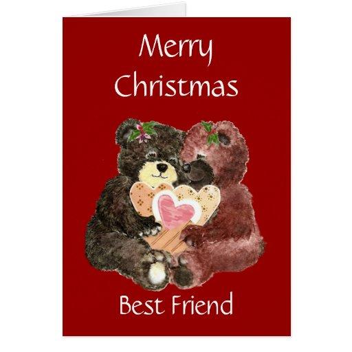 Merry Christmas Best Friend,Teddy Bear  Hugs Greeting Cards