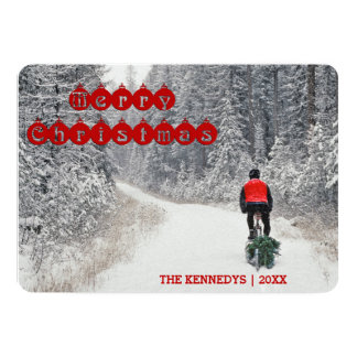Merry Christmas - Biker bringing home the Tree 13 Cm X 18 Cm Invitation Card