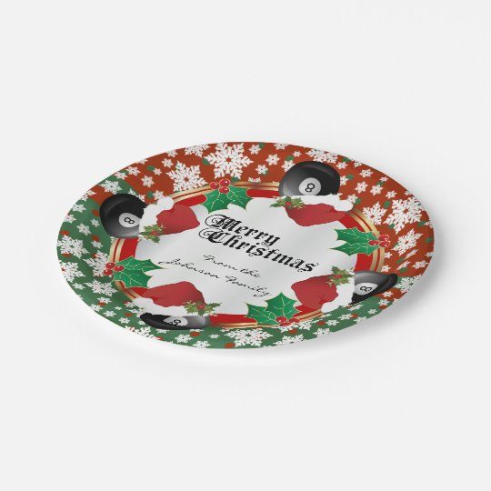 Merry Christmas Billiards Lovers Paper Plate