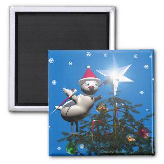 Merry Christmas Bird Square Magnet