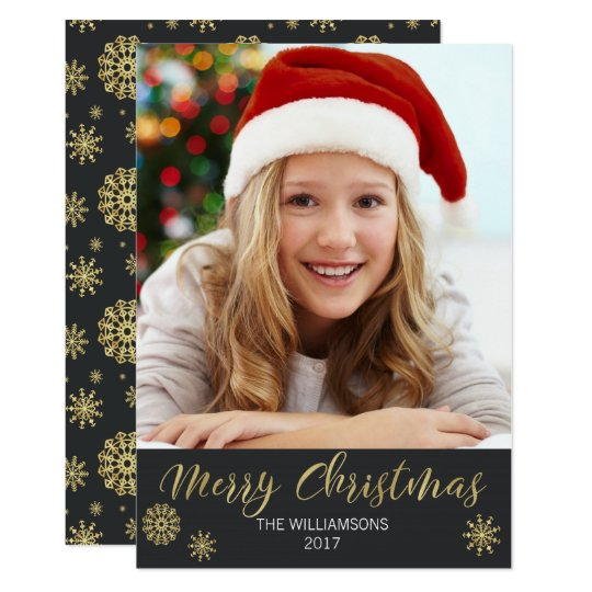 Merry Christmas Black and Gold Simple Photo Card