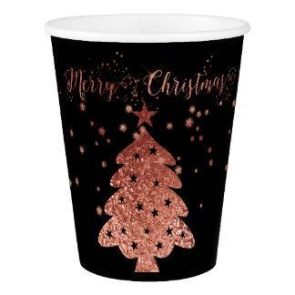 Merry Christmas Black and Pink Chic Designs Paper Cup