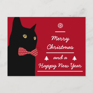 merry christmas black cat holiday postcard