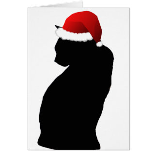 Merry Christmas Black Cat Santa Cards