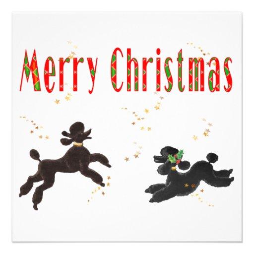 Merry Christmas Black & Chocolate Poodle Invite