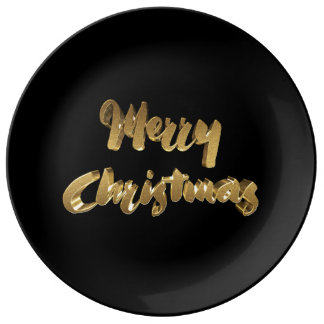 Merry Christmas Black Gold Handwriting Typography Plate
