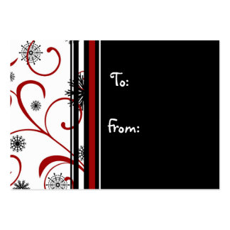 Merry Christmas Black Red Snowflakes Gift Tags Pack Of Chubby Business Cards