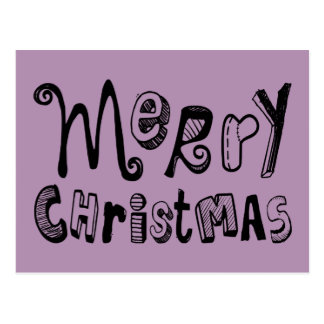 Merry Christmas - black Text Design Post Card