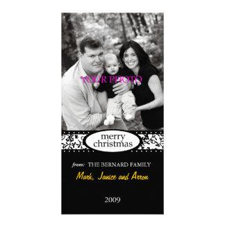 merry christmas black white ribbon card