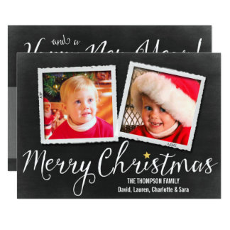 Merry Christmas Blackboard 2 photo card