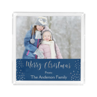 Merry Christmas Blue and Silver Foil Stars Photo Acrylic Tray