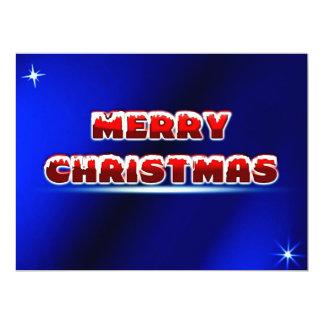 Merry Christmas (blue background) ~ 17 Cm X 22 Cm Invitation Card