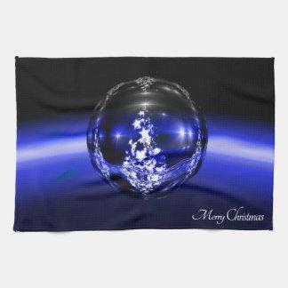 Merry christmas blue ball tea towel