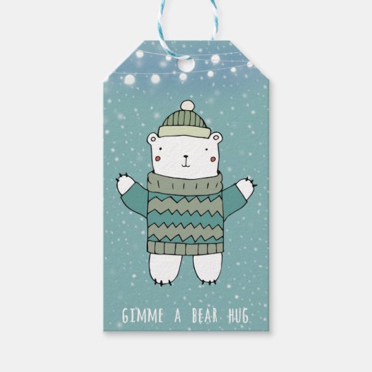 Merry Christmas blue bear hug gift tags