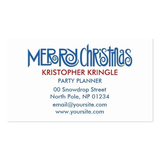 Merry Christmas blue Business Card