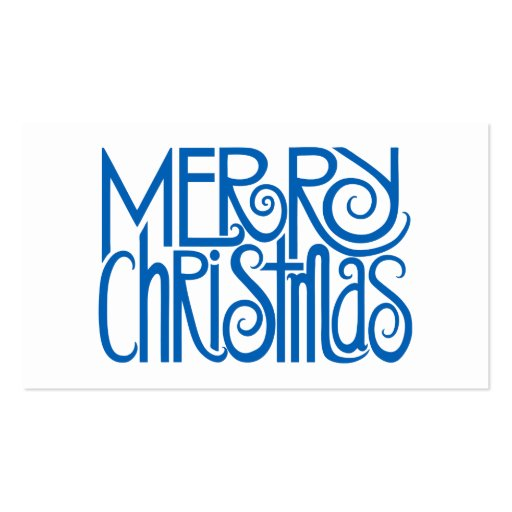 Merry Christmas Blue Gift Tag Business Card