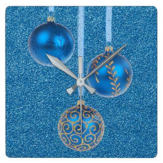 Merry Christmas Blue Glitter Baubles Elegant Square Wall Clock