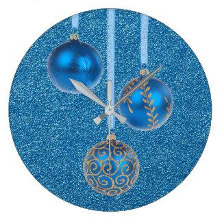 Merry Christmas Blue Glitter Baubles Elegant Wall Clocks