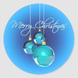 MERRY CHRISTMAS BLUE ORNAMENTS by SHARON SHARPE Round Stickers