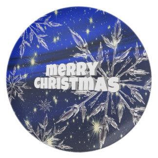 Merry Christmas  blue Plate
