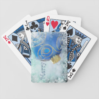 Merry Christmas blue playing cards
