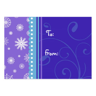 Merry Christmas Blue Purple Snowflakes Gift Tags Pack Of Chubby Business Cards