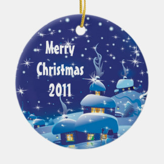 Merry Christmas - Blue Round Ceramic Decoration