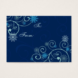 Merry Christmas Blue Snowflakes Gift Tags