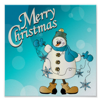 Merry Christmas Blue Snowman Poster