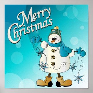 Merry Christmas Blue Snowman Poster