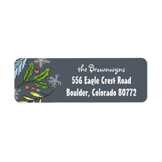 Merry Christmas Blue Spruce Boughs Return Return Address Label